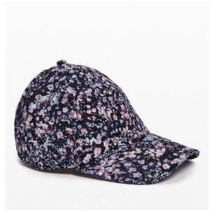 Lululemon Black Floral Baller Run Hat Ponytail